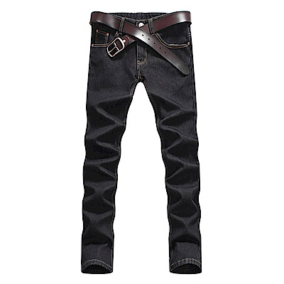 BuyGlasses 韓國原色窄身皮標牛仔長褲