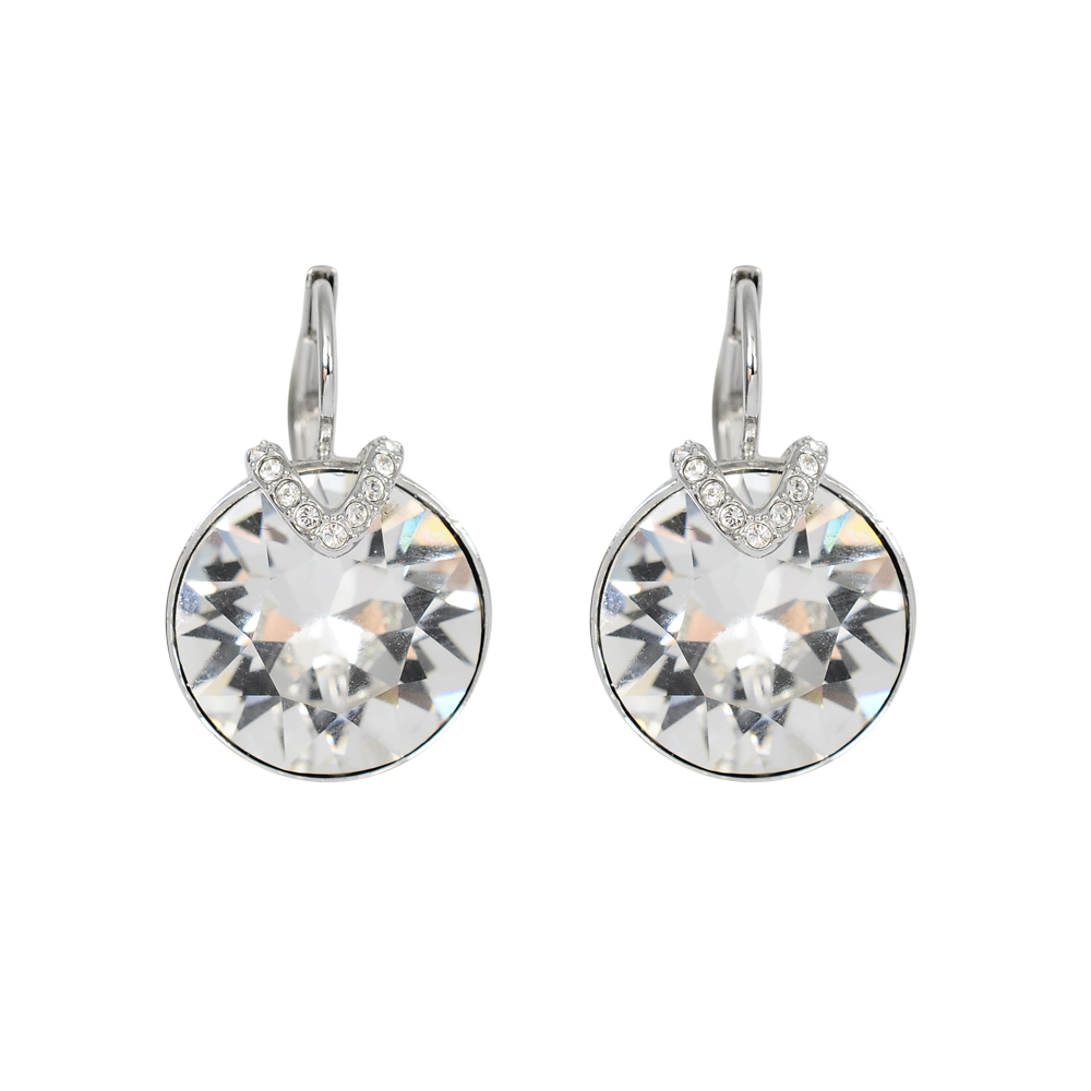 SWAROVSKI 施華洛世奇 璀璨V型透明圓形水晶造型 銀色耳環