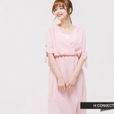 H:CONNECT 韓國品牌 女裝 -氣質V領長洋裝-粉