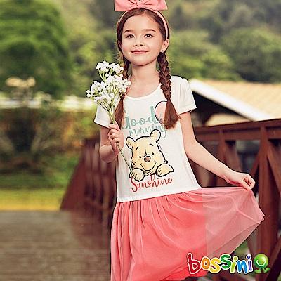 bossini女童-小熊維尼印花連身洋裝01灰白