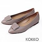 KOKKO -通勤蜜糖真皮方扣尖頭平底鞋-紳士灰