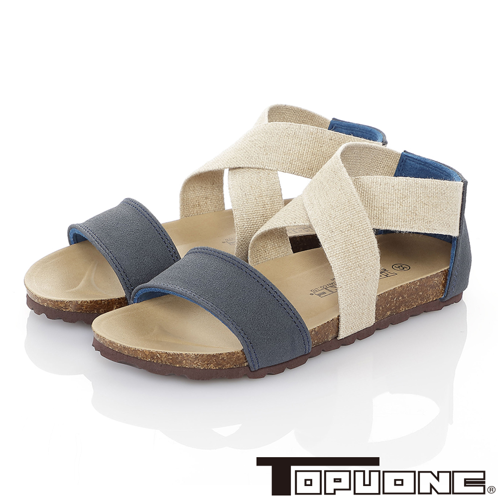 TOPUONE親子鞋童鞋 輕量減壓腳床型涼鞋-藍