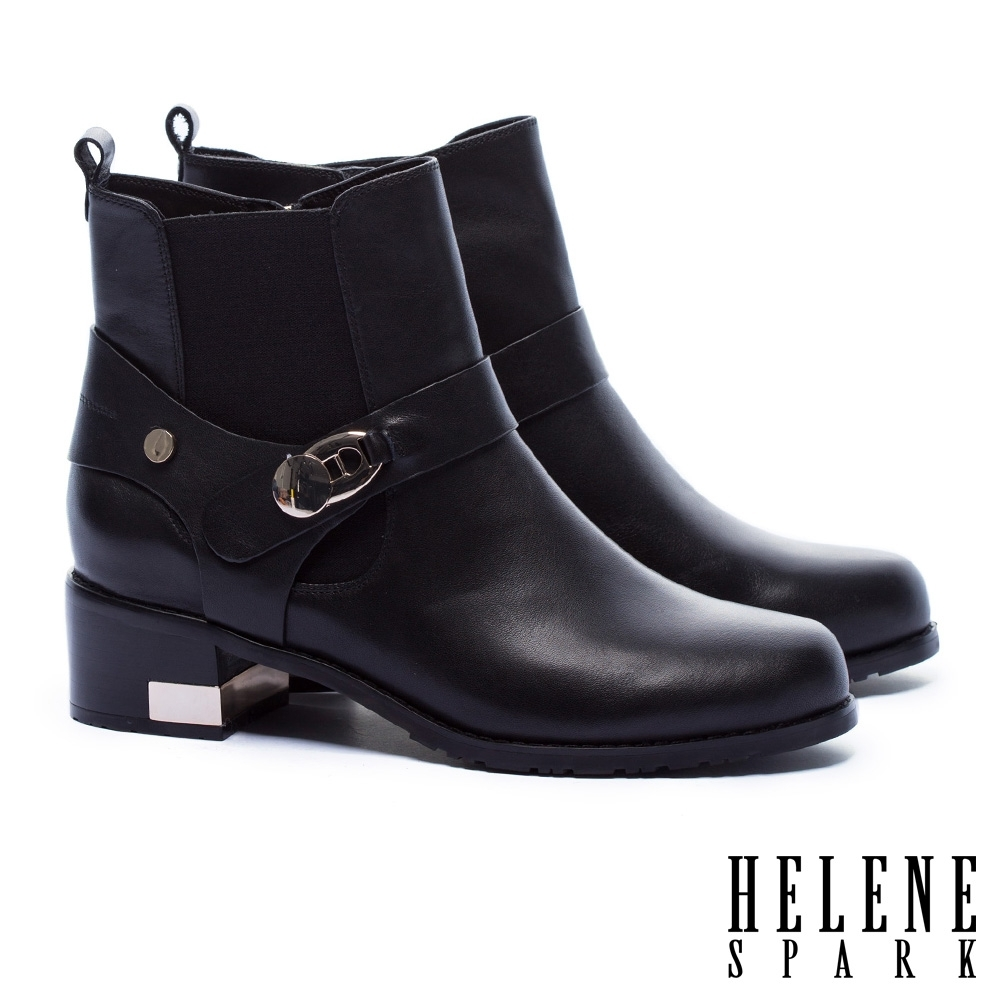 短靴 HELENE SPARK 率性時尚質感金屬釦粗高跟短靴-黑