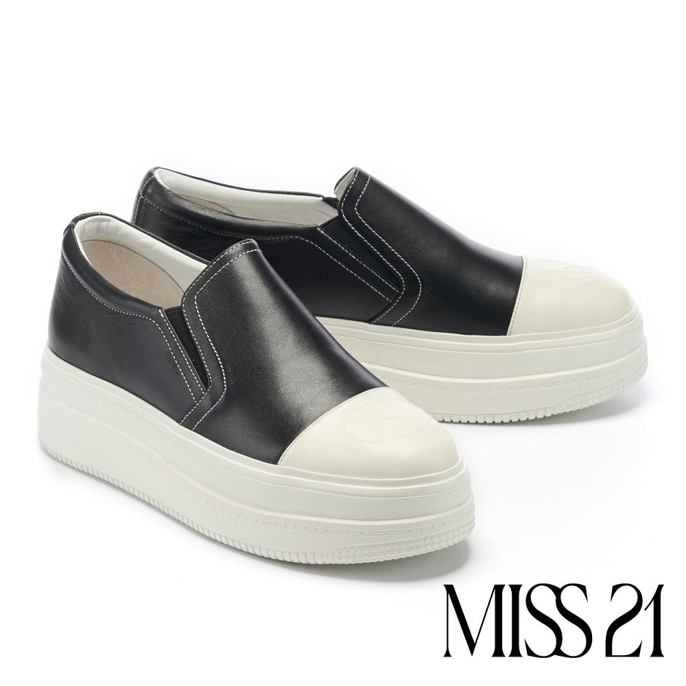 休閒鞋 MISS 21 極簡率性LOGO壓印全真皮厚底休閒鞋-黑