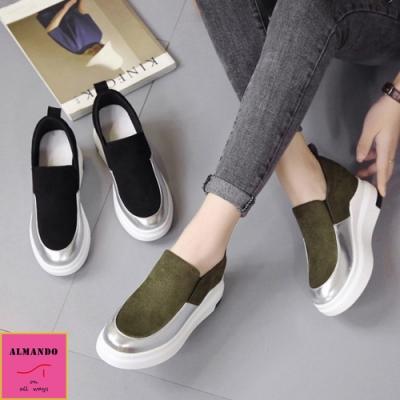 ALMANDO-SHOES 韓系麂皮內增高厚底休閒鞋