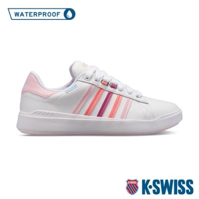 K-SWISS Pershing Court Light WP防水時尚運動鞋-女-白/粉紅/桃紅
