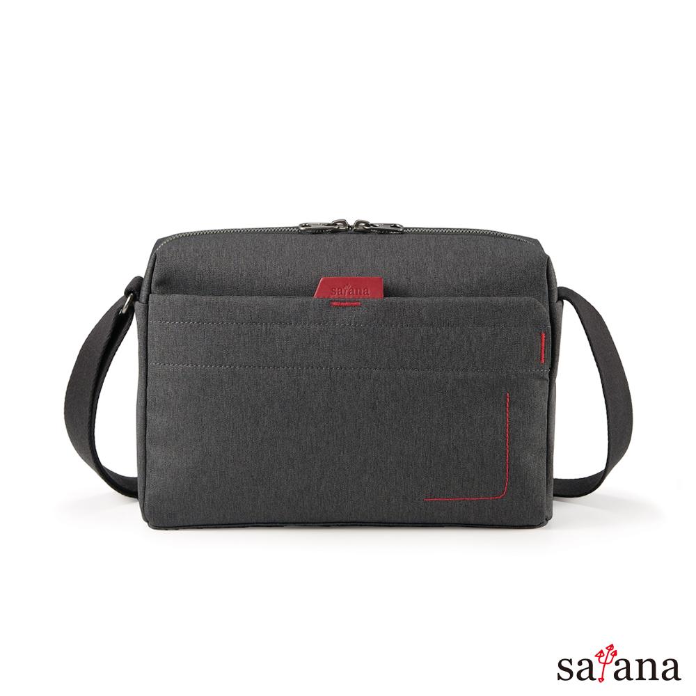 satana -Fresh 輕職人摩登斜背包-麻花黑