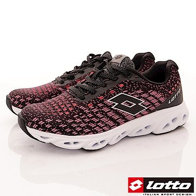 Lotto樂得-風動編織跑鞋-RSI612黑桃紅(女段)