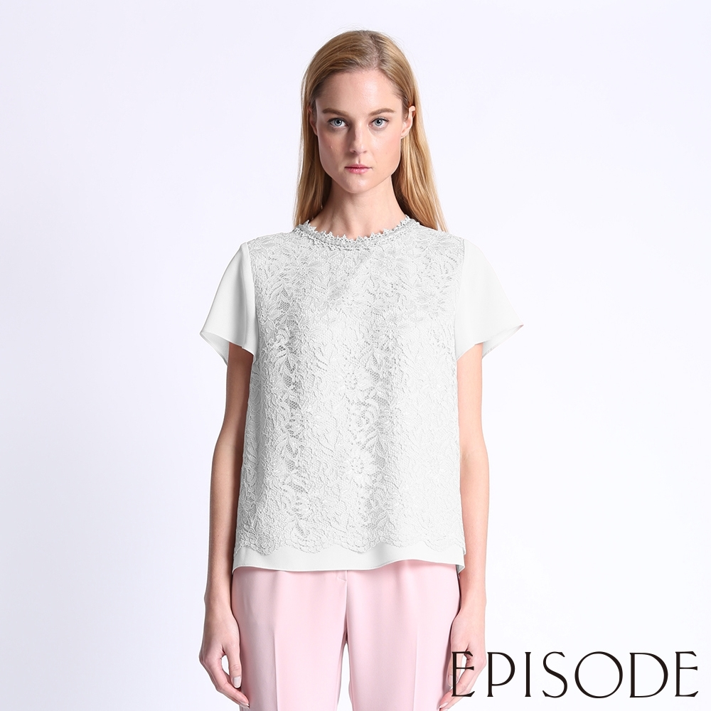 EPISODE - 圓領珠珠裝飾短袖雪紡蕾絲襯衫上衣