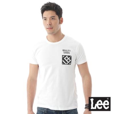 Lee 短袖T恤 前後圖案印刷-男款-白