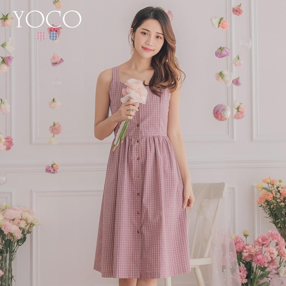 東京著衣-YOCO 鄰家休閒排釦細肩格紋洋裝-S.M.L(共兩色)