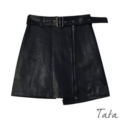 不對稱A字腰帶皮短裙 TATA-(S/M)