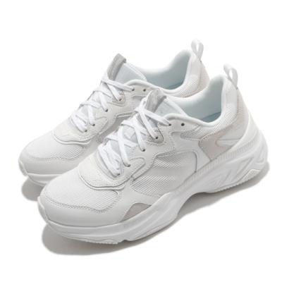 Skechers 休閒鞋 Energy Racer 女鞋 增高5公分 異材質拼接 穿搭推薦 白 灰 149370WHT