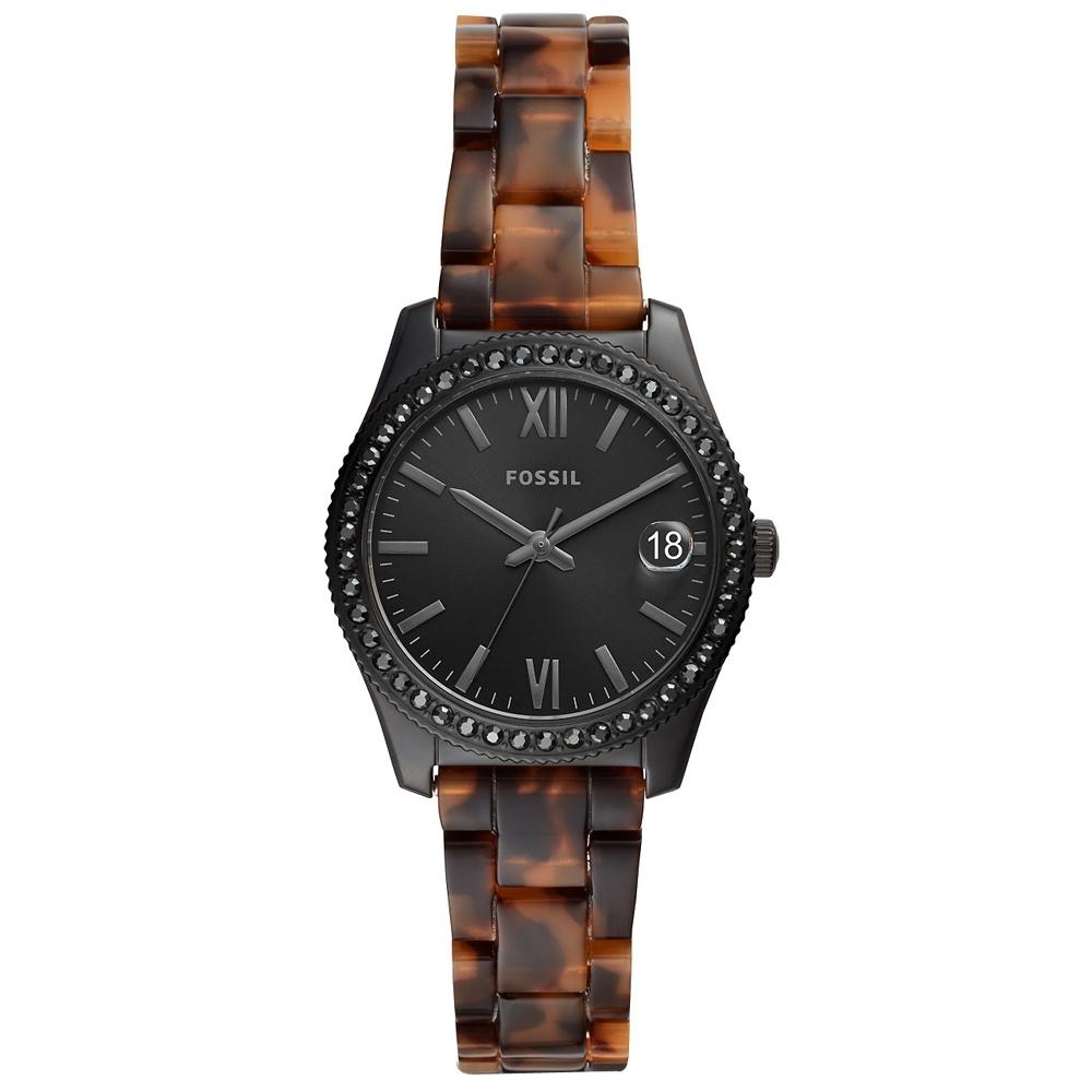 FOSSIL Scarlette晶鑽玳瑁紋手錶(ES4638)-黑X玳瑁/32mm