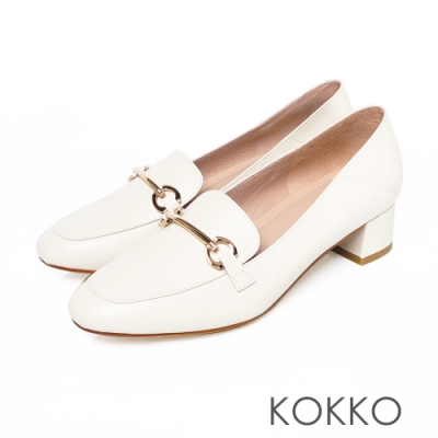 KOKKO - 鎖鍊方頭舒壓牛皮樂福平底鞋-白色