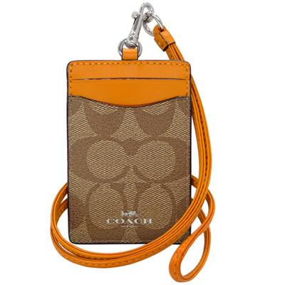 COACH卡其C Logo拼接橙色真皮掛式證件票卡夾