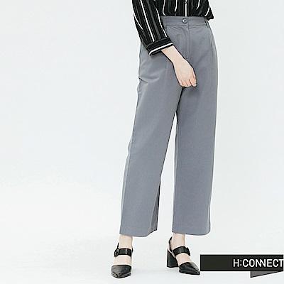H:CONNECT 韓國品牌 女裝-後鬆緊打摺寬褲-灰
