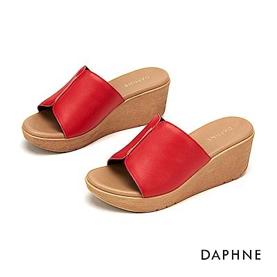 達芙妮DAPHNE 涼鞋-經典原色寬版楔形涼拖鞋-紅色