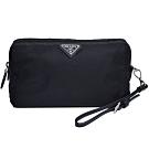 PRADA 品牌圖騰三角牌尼龍可拆式提帶手拿/化妝包(黑色)
