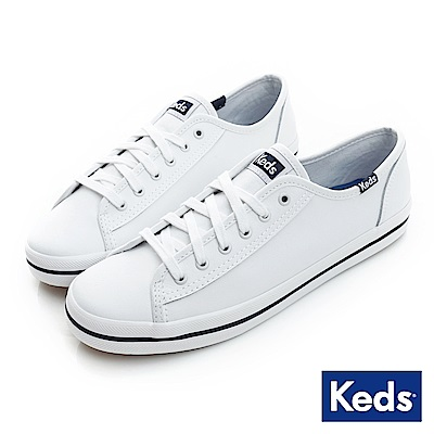 Keds KICKSTART 中性基本綁帶皮革休閒鞋-白/藍
