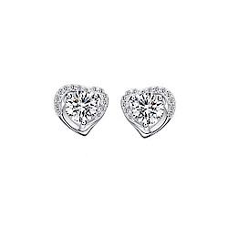 米蘭精品 925純銀耳環-精美愛心鑲鑽耳環