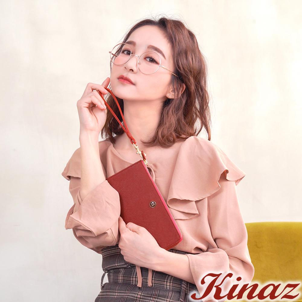 KINAZ 七彩露珠L型拉鍊長夾-愛戀紅-繡球花系列