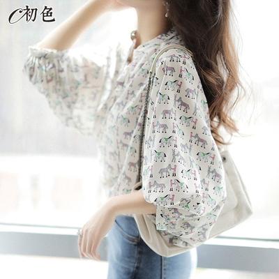 初色  復古印花雪紡衫-共2色-(M-2XL可選)