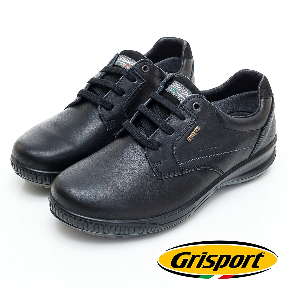 Grisport 義大利進口-高質感綁帶厚底真皮休閒鞋-黑色