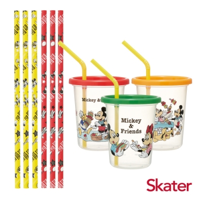 Skater日本製3入水杯-320ml+紙吸管(米奇PICNIC)
