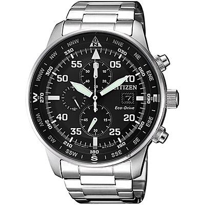 CITIZEN 星辰 光動能飛行家計時手錶-黑x銀/44mm