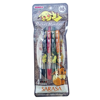 日本斑馬ZEBRA 精靈寶可夢皮卡丘SARASA水性原子筆CLIP夾式4色0.5mm 860 7290 02(減壓橡膠筆握)
