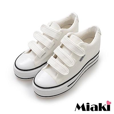 Miaki-帆布鞋.學院風加厚底休閒鞋-白