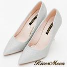 River&Moon跟鞋-素面亮蔥尖頭高跟鞋-銀