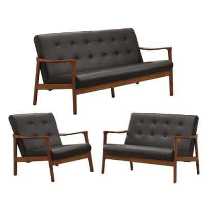 文創集 奧布現代風皮革實木沙發椅組合(1+2+3人座)