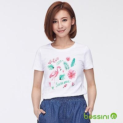 bossini女裝-印花短袖T恤27白