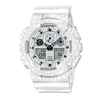 G-SHOCK 卡西歐 爆裂紋個性風 雙顯運動錶(GA-100CG-7)-白/51.2mm