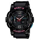 BABY-G 極限運動女孩衝浪板造型概念錶(BGA-180-1B)-黑色/44mm