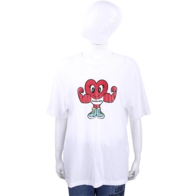 LOVE MOSCHINO 健美愛心白色短袖TEE T恤