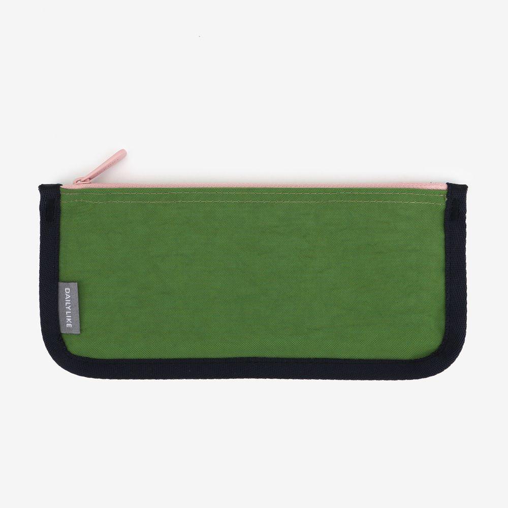 Dailylike 撞色拉鏈收納筆袋(平版)-02草地綠