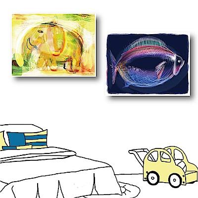 橙品油畫布 兩聯式橫幅動物無框畫-霓虹40x30cm