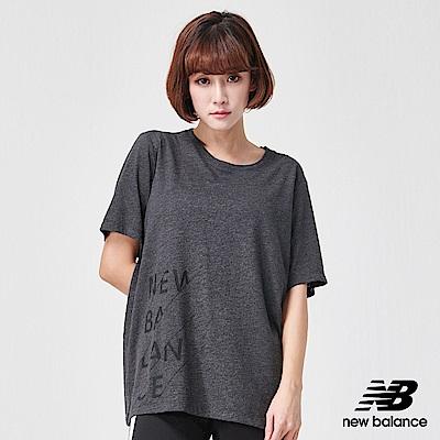 New Balance花紗長版運動短袖上衣AWT91135BKH_女黑色