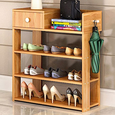 【Incare】堅固板材-紅葉楓木四層木質鞋櫃