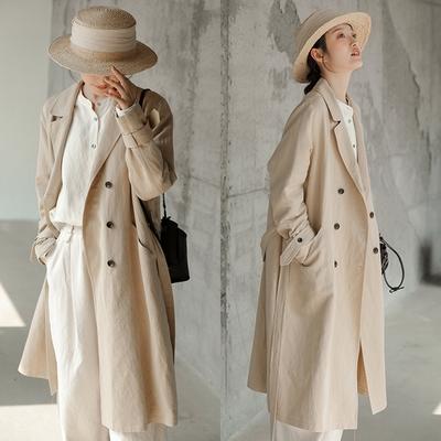 80*17支法國亞麻有機棉風衣外套中長版-設計所在