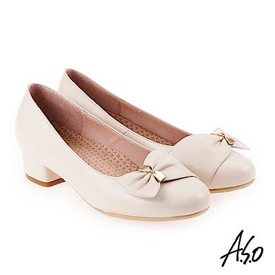 A.S.O 美型對策 職場通勤甜美蝴蝶奈米低跟包鞋 米