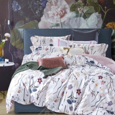 La Lune 台灣製300織紗長纖絨棉新式雙人兩用被加大床包五件組 遠望她的嬌羞