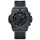 LUMINOX 雷明時 3580海豹三眼計時腕錶-消光黑X黑/45MM