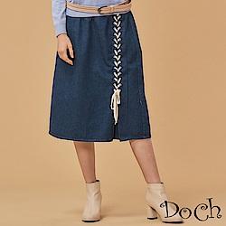 【Doch】綁帶設計A LINE牛仔中長裙(共兩色)