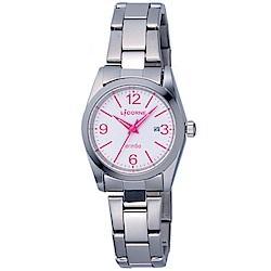 LICORNE 力抗錶 都會簡約雅致手錶-白×桃紅×銀/30mm