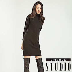 EPISODE Studio - 高領素面簡約針織洋裝(黑)