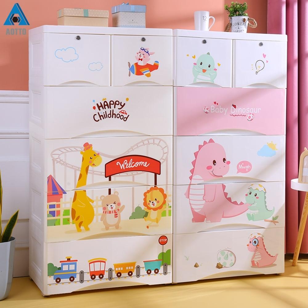 【AOTTO】65面寬可愛動物超大容量抽屜收納櫃(兒童衣櫃 收納櫃 衣櫃)